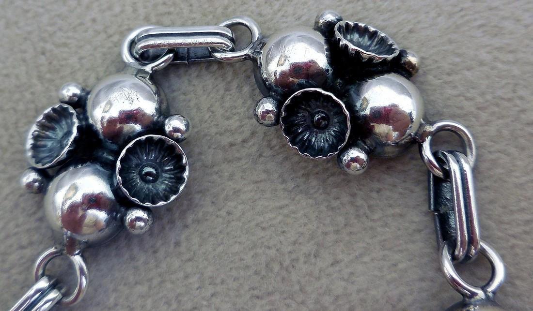 Mid-Century Modernist Danish Sterling Silver Bracelet - 3
