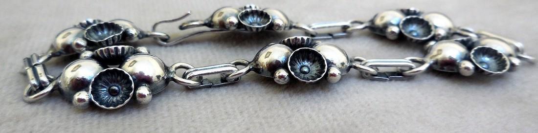 Mid-Century Modernist Danish Sterling Silver Bracelet - 5
