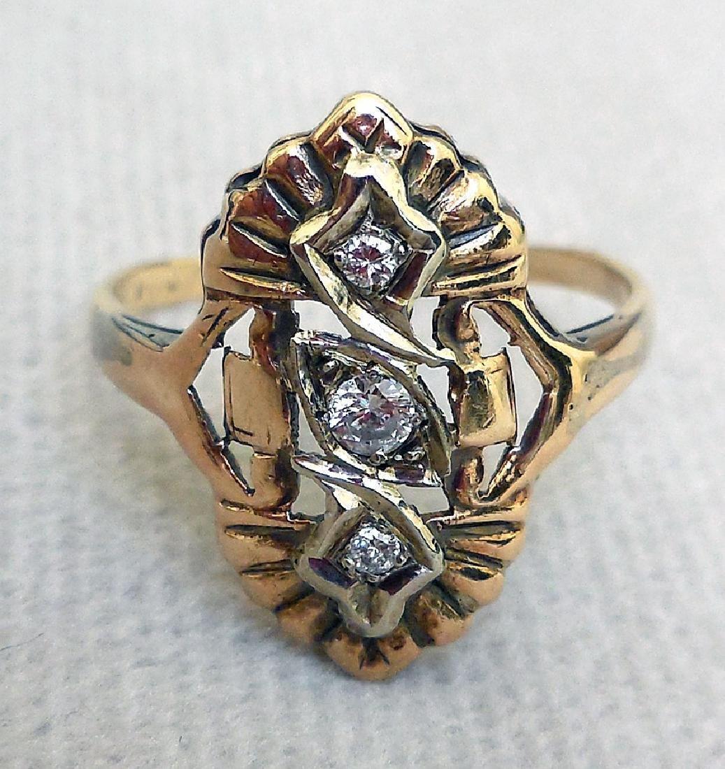 Antique 14K Gold Diamond Ring, 0.25ctw