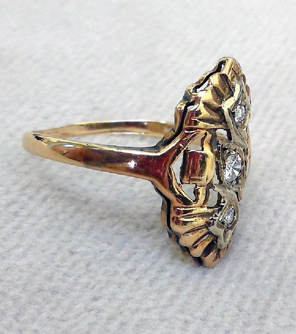 Antique 14K Gold Diamond Ring, 0.25ctw - 2