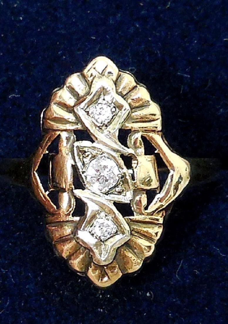 Antique 14K Gold Diamond Ring, 0.25ctw - 3