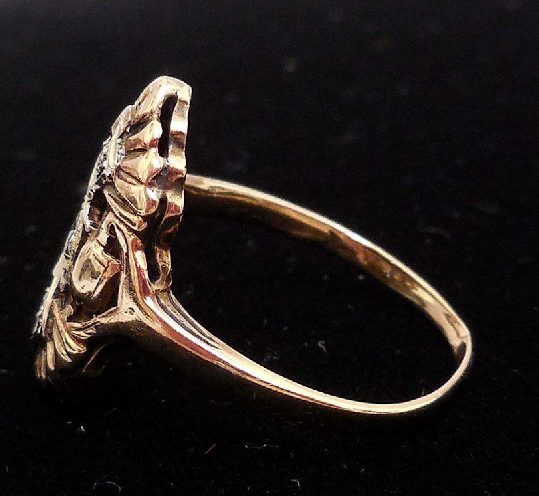 Antique 14K Gold Diamond Ring, 0.25ctw - 5