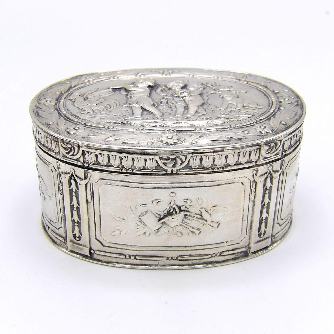 Antique Continental 830 Silver Oval Box, 1890 - 2