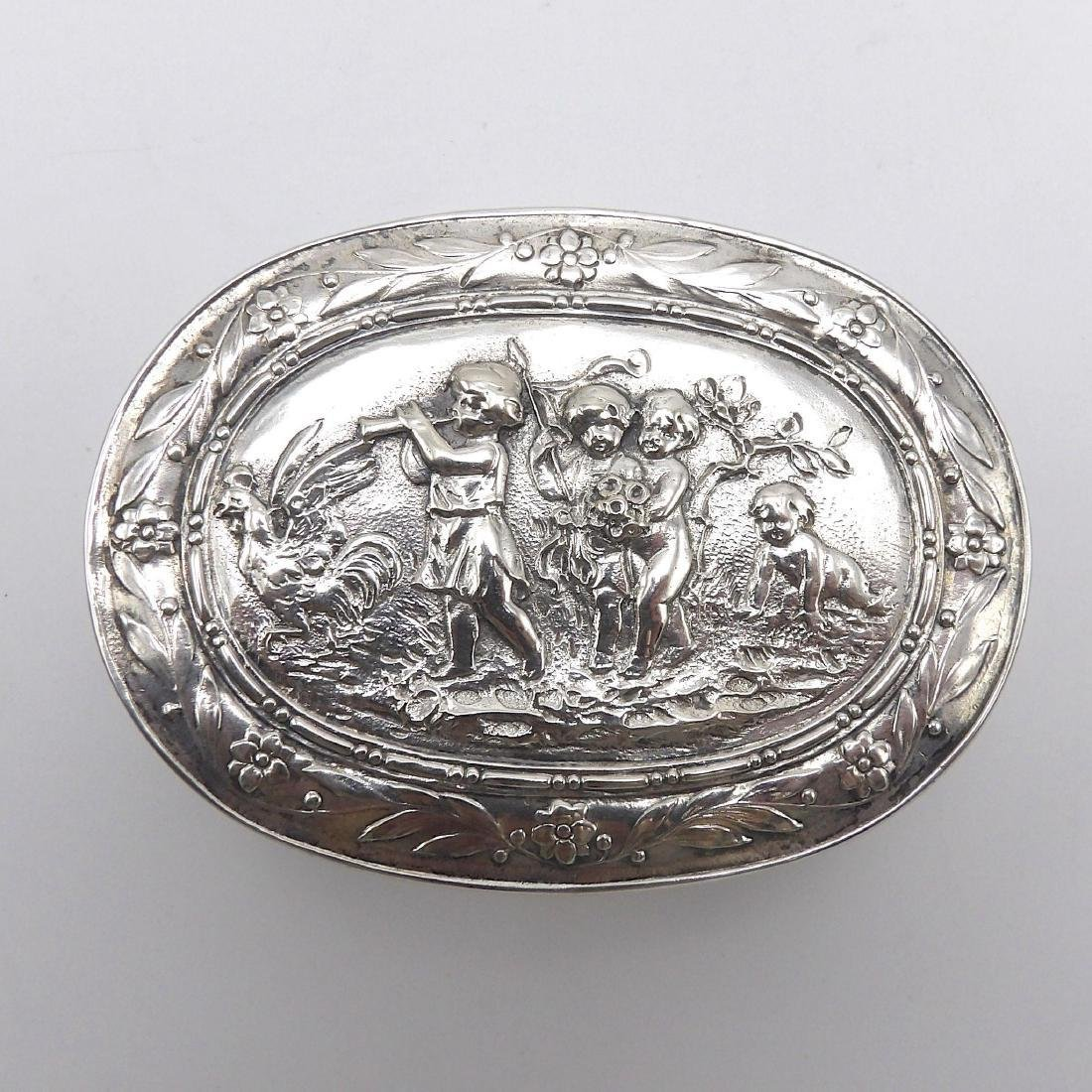 Antique Continental 830 Silver Oval Box, 1890 - 3