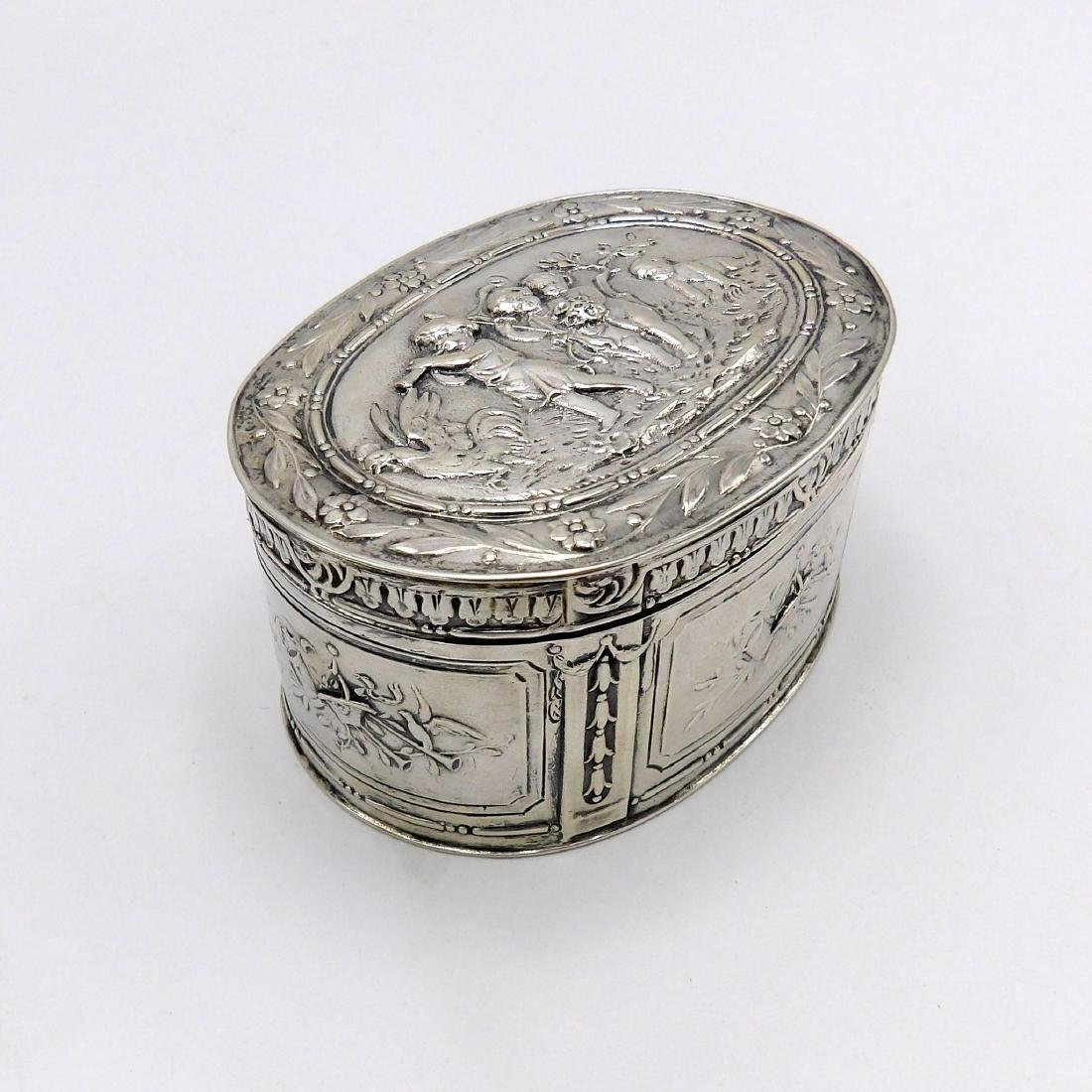 Antique Continental 830 Silver Oval Box, 1890 - 4