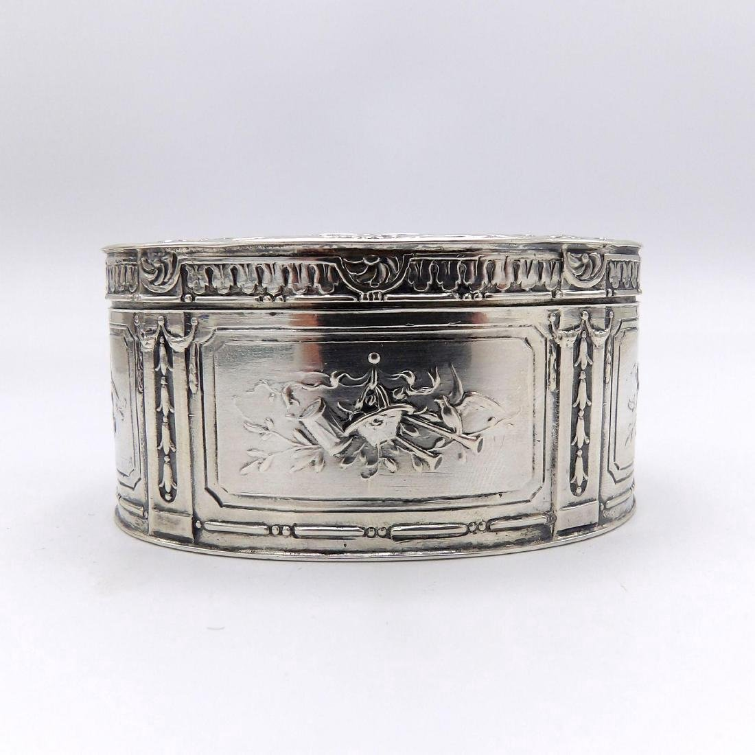 Antique Continental 830 Silver Oval Box, 1890 - 5