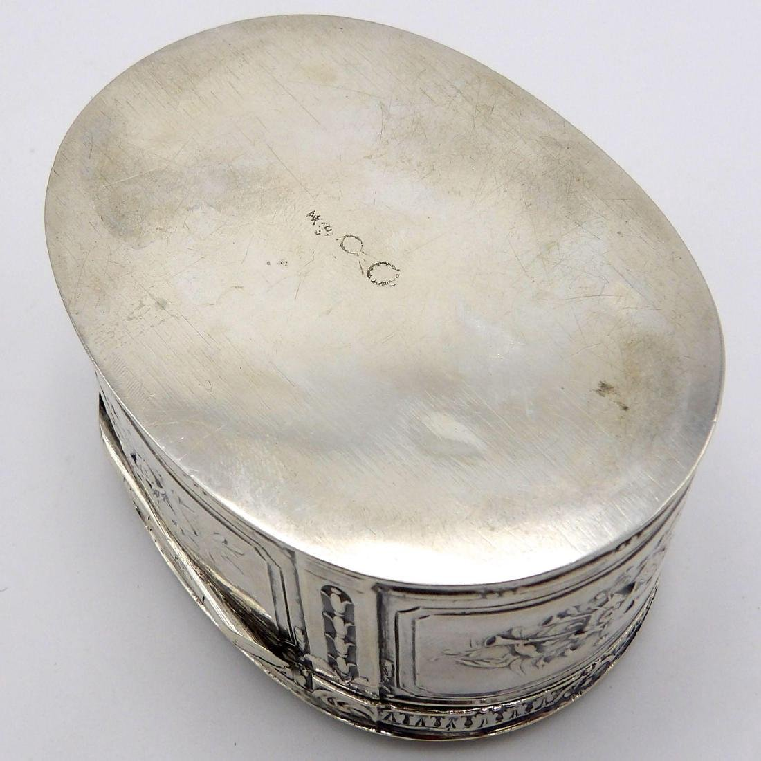 Antique Continental 830 Silver Oval Box, 1890 - 7