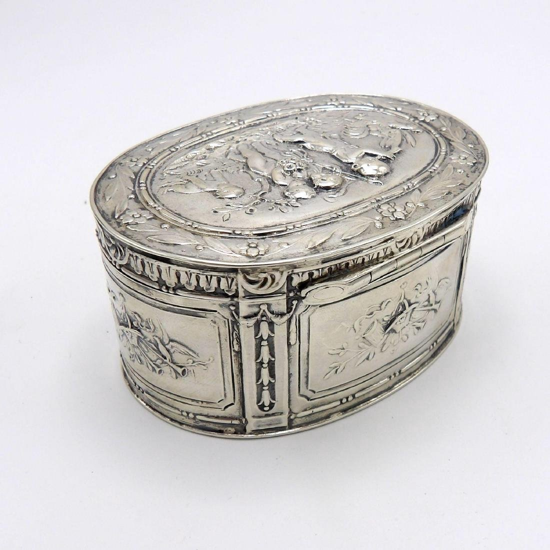 Antique Continental 830 Silver Oval Box, 1890 - 8