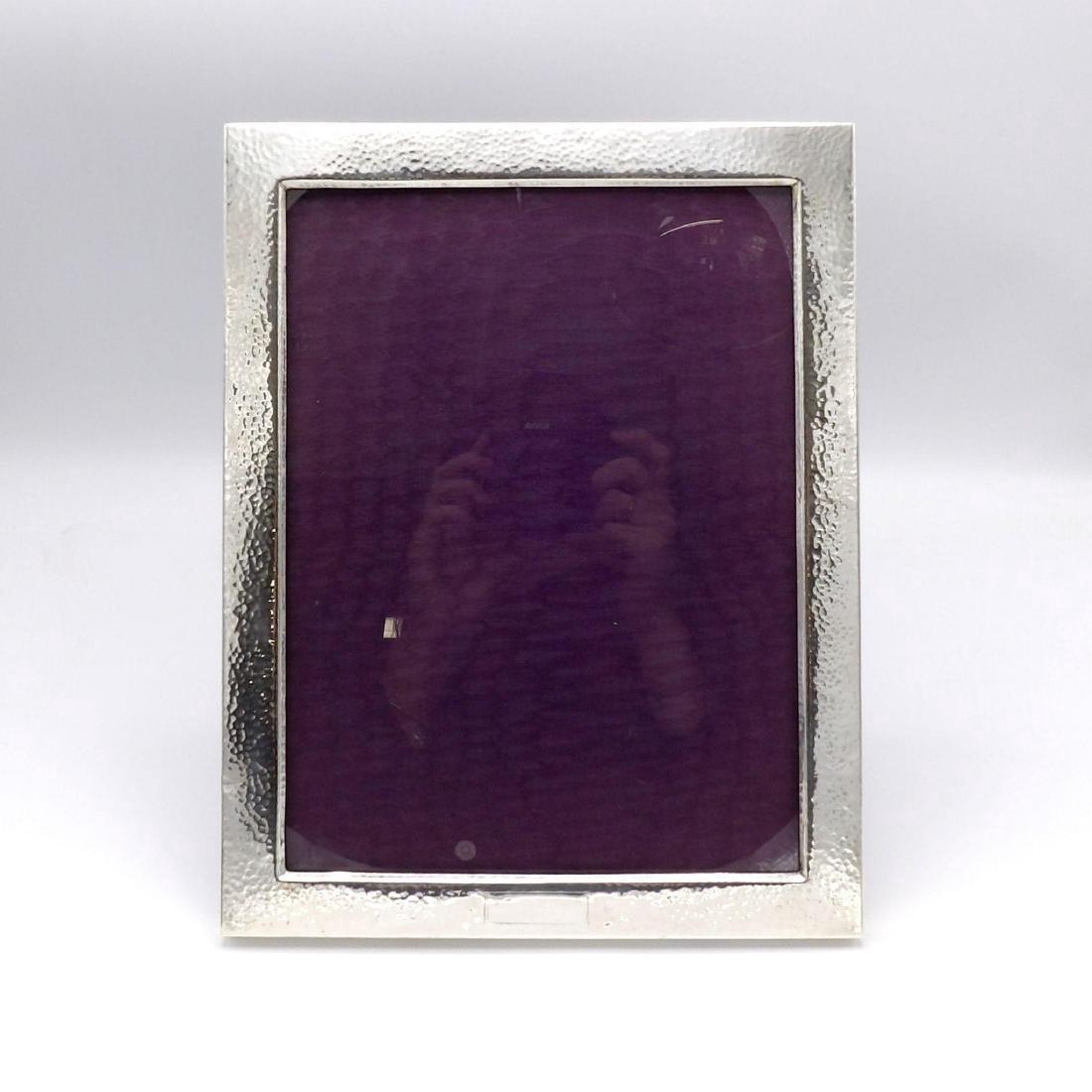 Vintage Arts & Crafts Hammered Sterling Silver Frame - 2