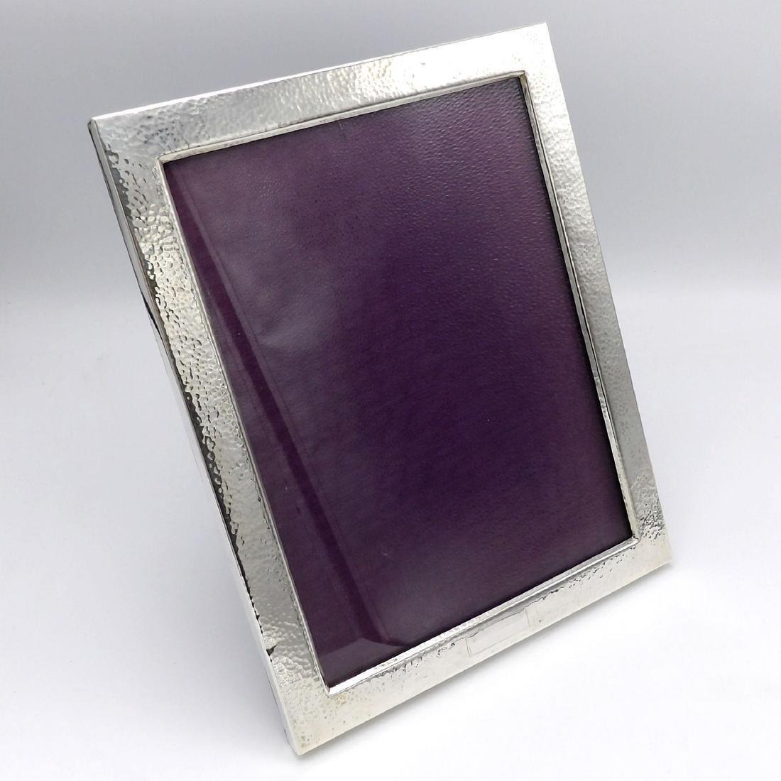 Vintage Arts & Crafts Hammered Sterling Silver Frame - 6