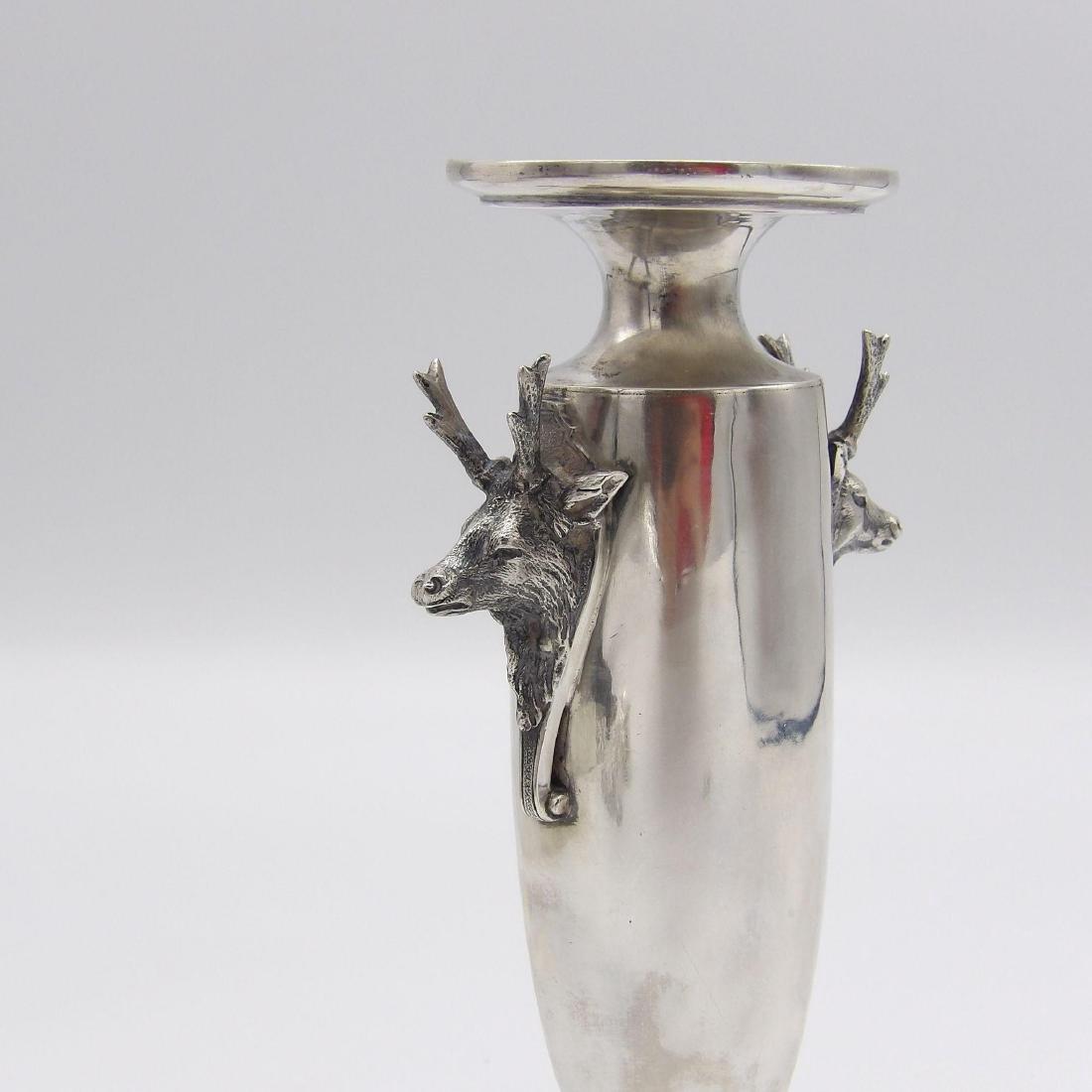 Antique Gorham Saxon Stag Sterling Silver Bud Vase 1860 - 2