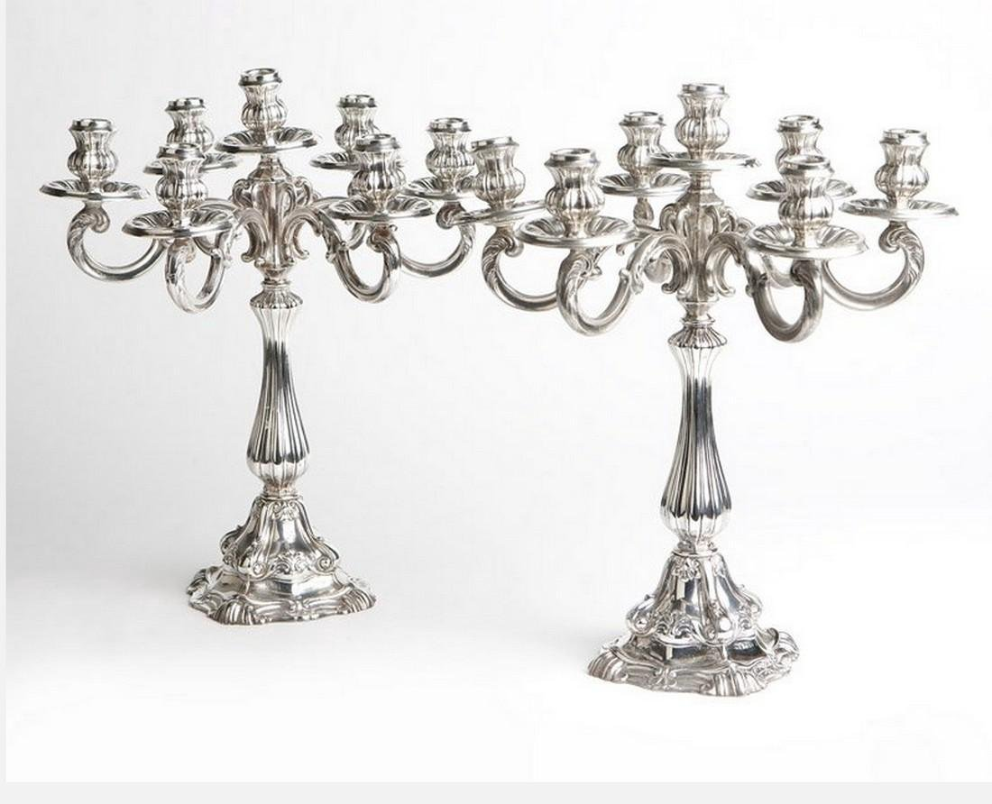 Pair of Mid-Century Camusso Sterling Silver Candelabra