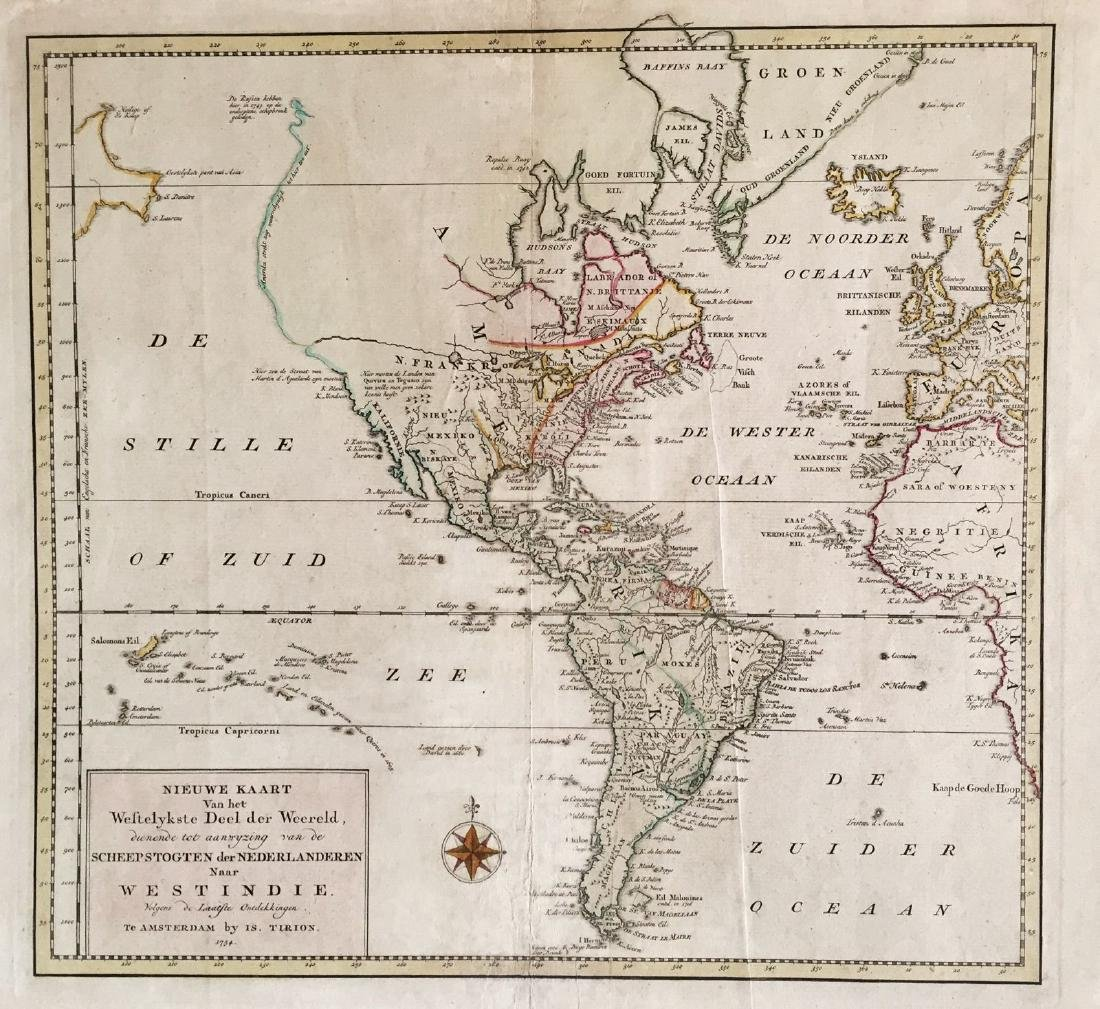 Tirion: Antique Map of the Western Hemisphere, 1754
