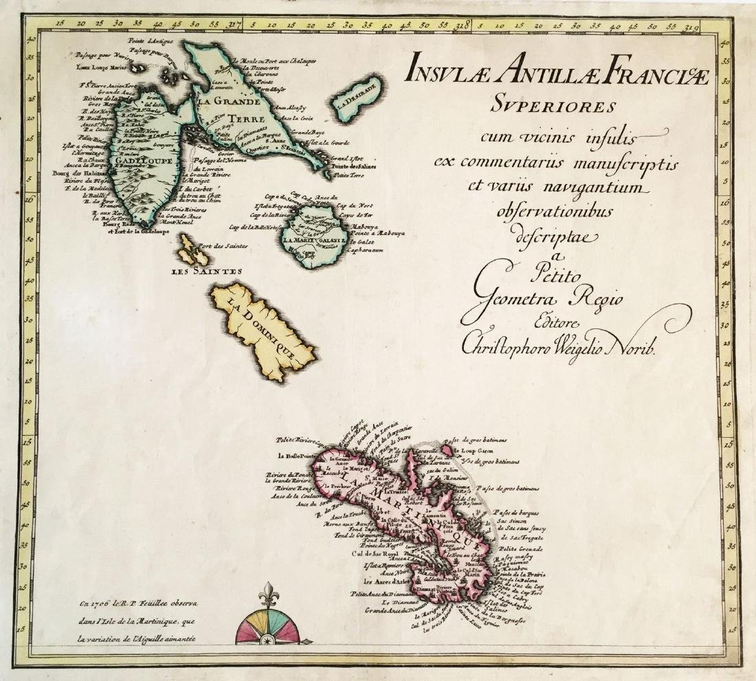 Weigel: Antique Map of Guadeloupe & Martinique, 1718