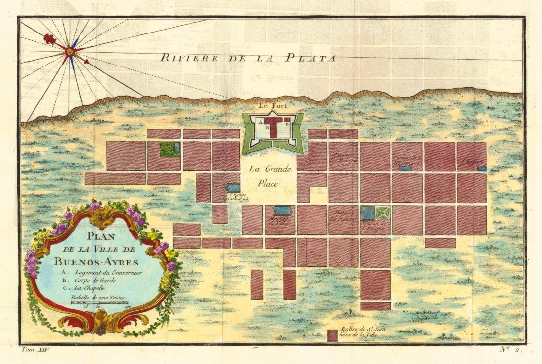 Bellin: Antique Plan of Buenos Aires, 1758