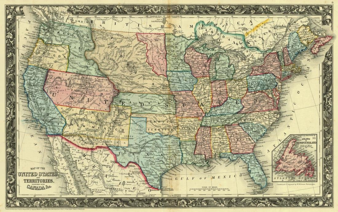 Mitchell: Antique Map of the United States, 1861