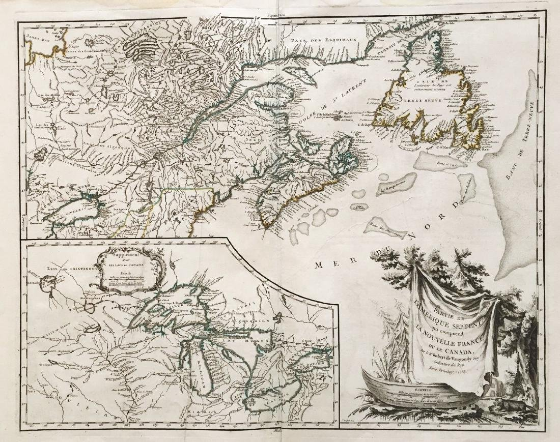 de Vaugondy: Antique Map of New France & Great Lakes