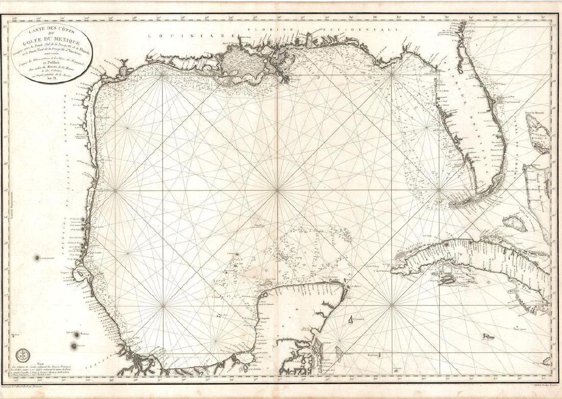Depot de la Marine: Antique Map of Gulf of Mexico, 1800