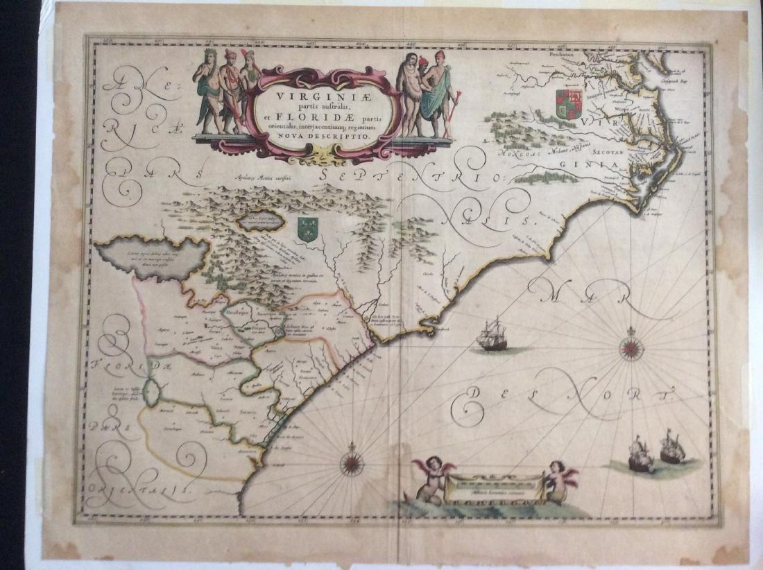 Janssonius: Antique Map of Virginia to Florida, 1639