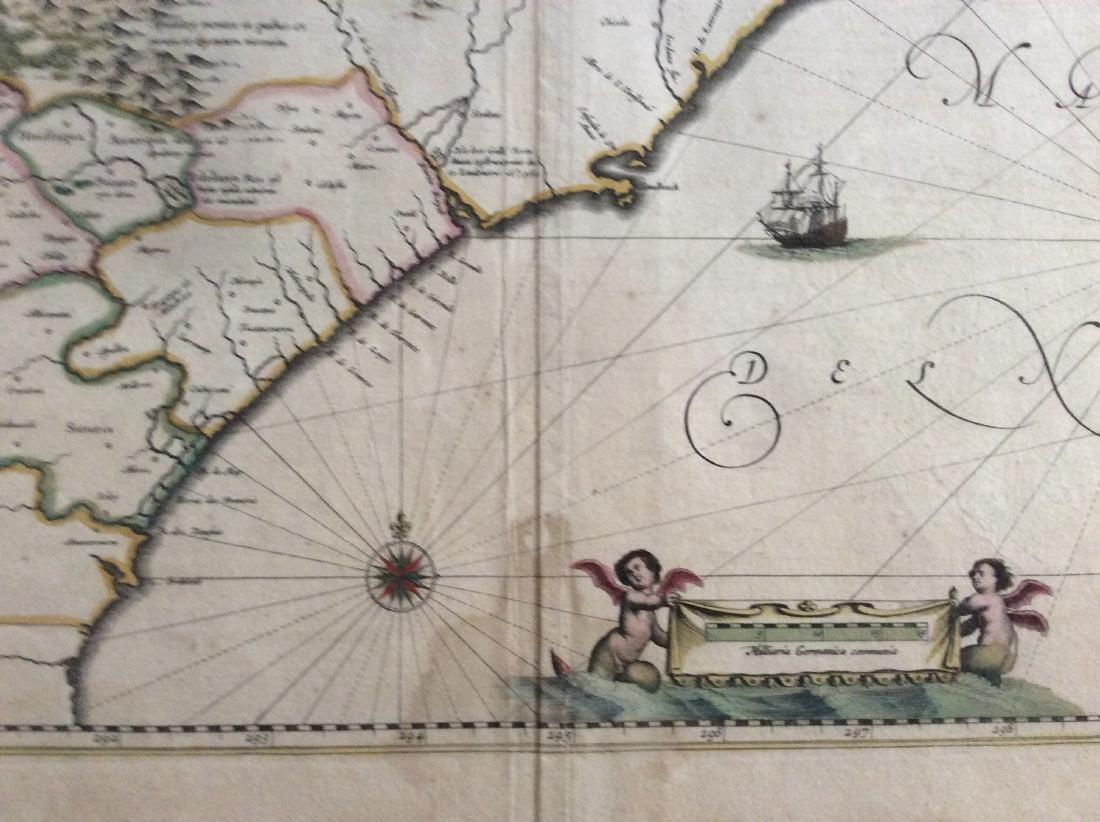 Janssonius: Antique Map of Virginia to Florida, 1639 - 3