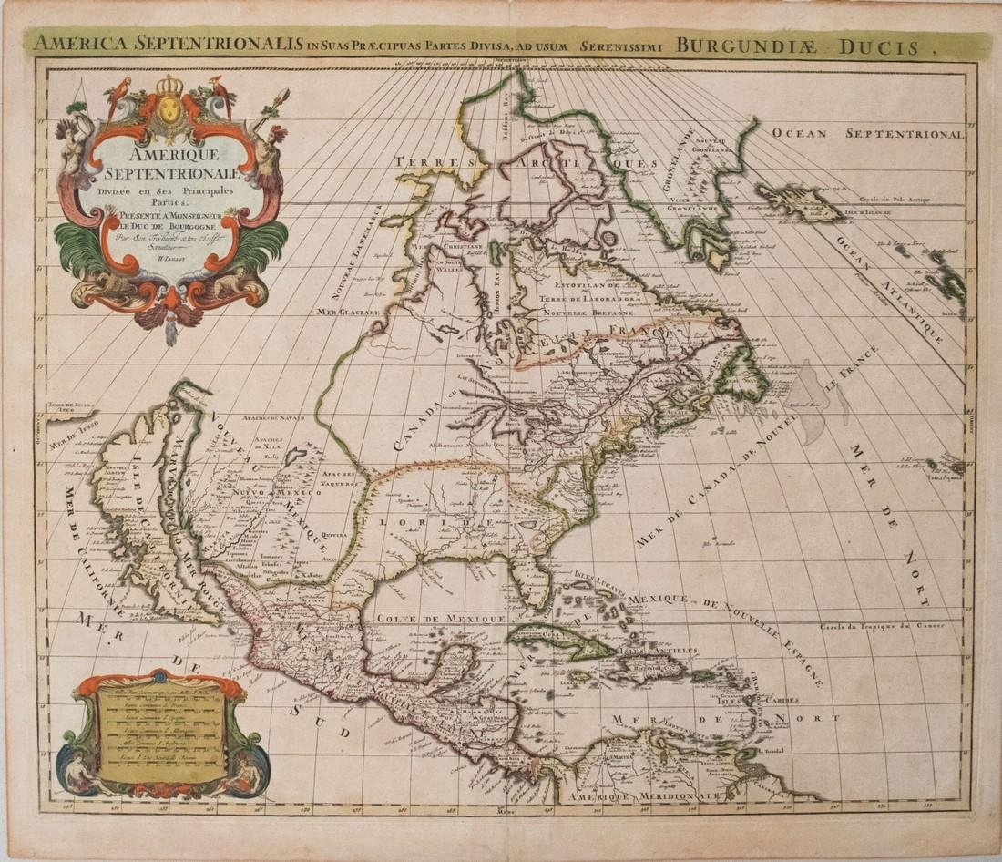 Jaillot: Antique Map of North America, 1696