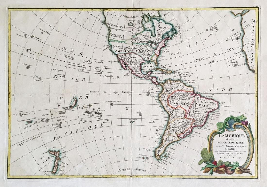 Janvier / Lattre: Antique Map of the Americas, 1772