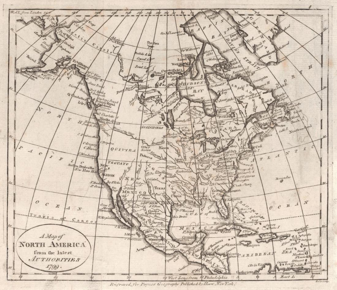 Scholes: Antique Map of North America, 1799