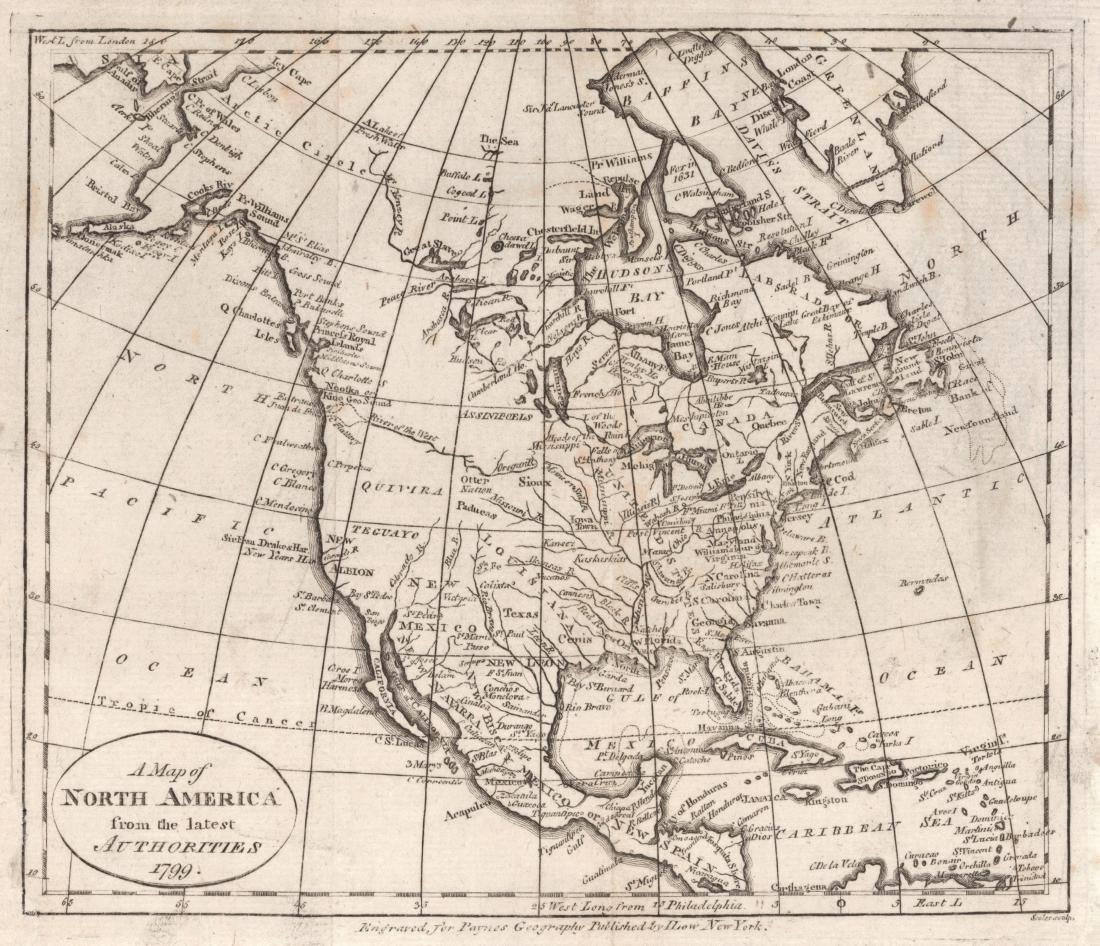Scholes: Antique Map of North America, 1799