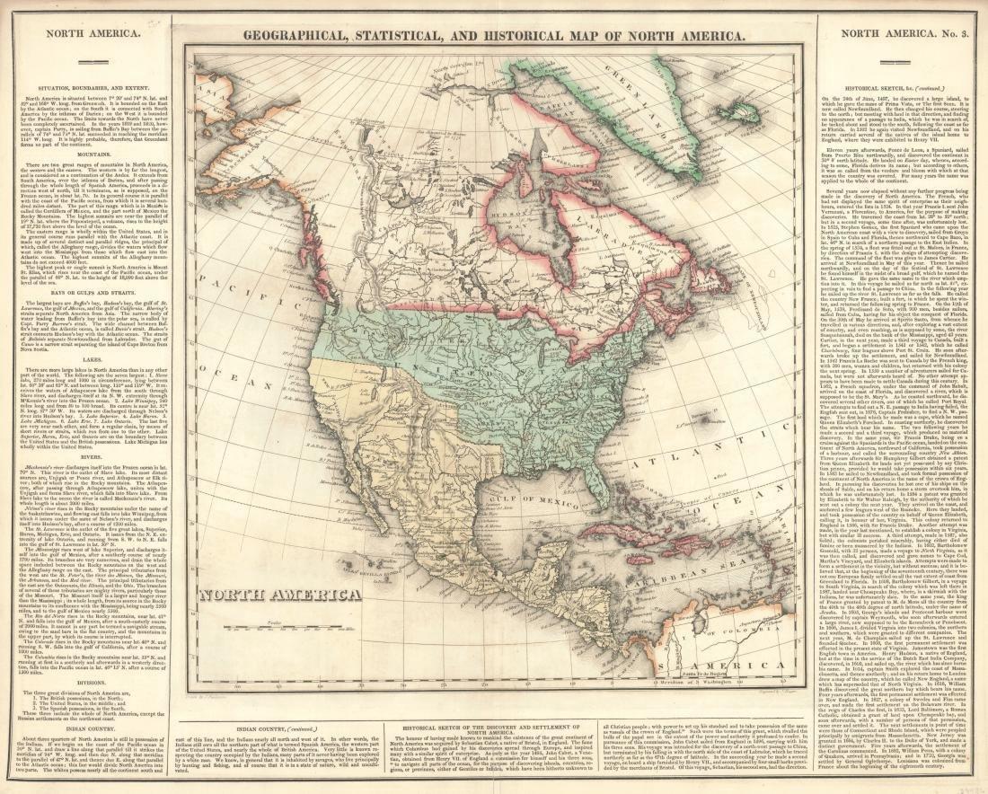 Carey & Lea: Antique Map of North America, 1822