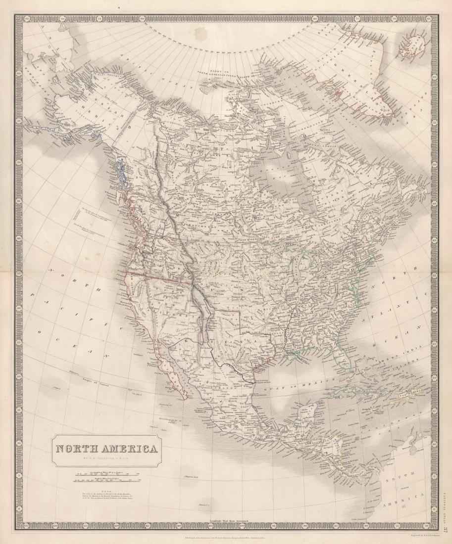 Johnston: Antique Map of North America, 1845