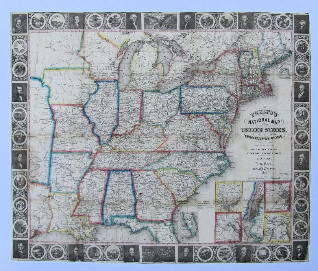 Phelps: Antique Pre-Civil War Map of United States 1848