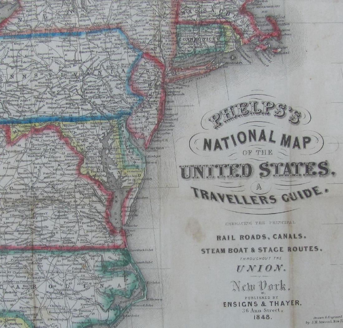 Phelps: Antique Pre-Civil War Map of United States 1848 - 2