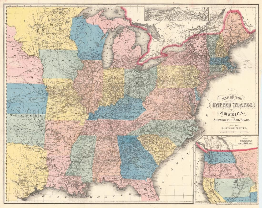 Smith: Antique Railroad Map of the United States, 1855