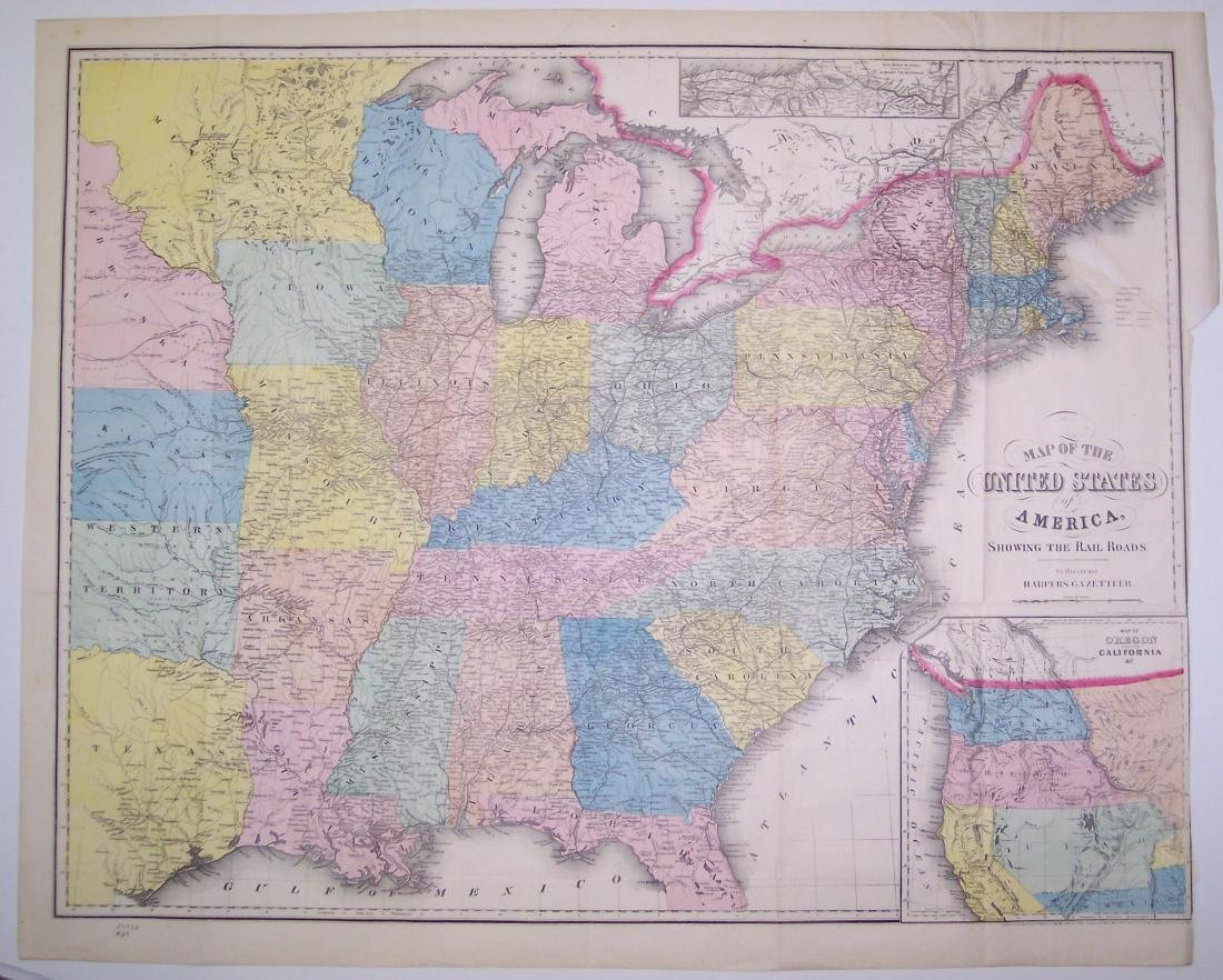 Smith: Antique Railroad Map of the United States, 1855 - 2