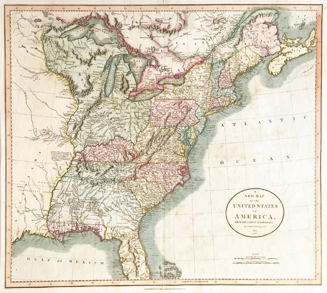 Cary: Antique Map of the United States in 1811