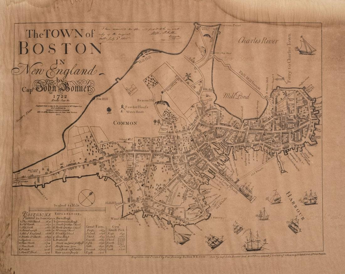 Bonner: Map of Boston, Reproduction of 1722 Map