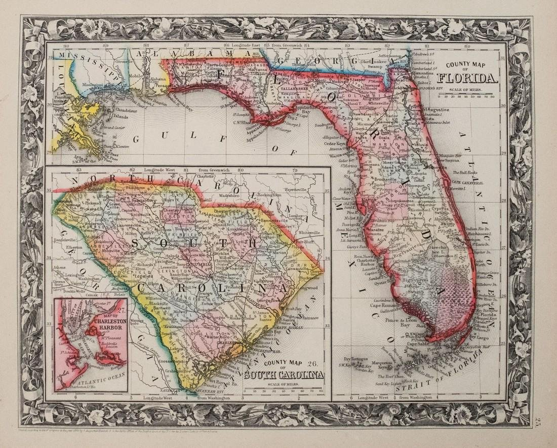 Mitchell: Antique Map of Florida & South Carolina, 1860