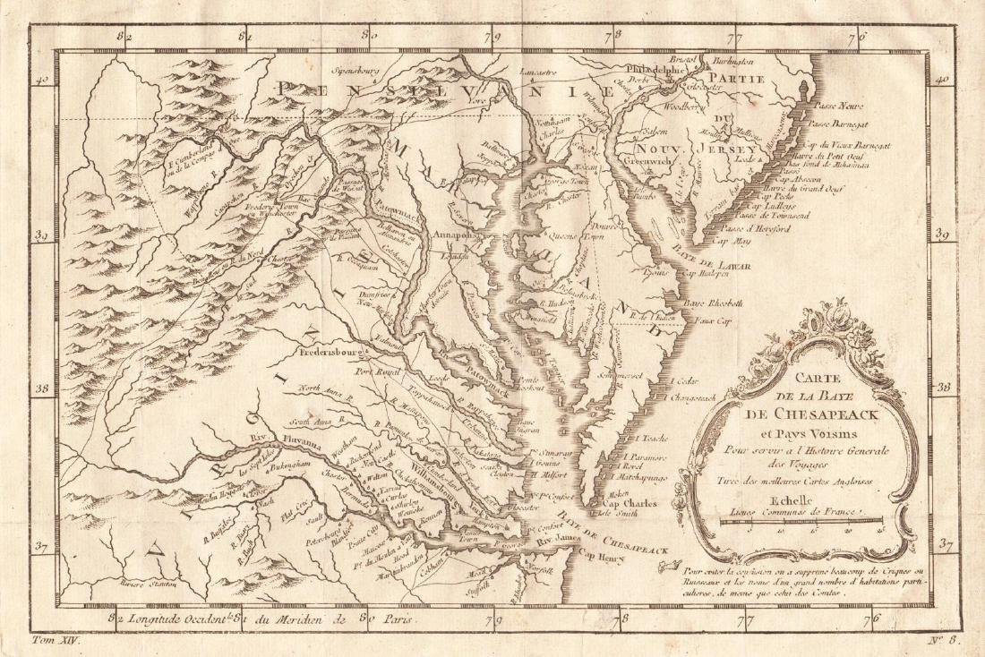 Bellin: Antique Map of Chesapeake Bay, 1757