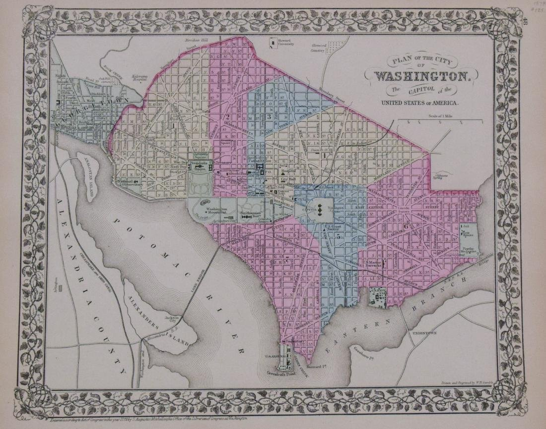 Mitchell: Antique Map of Wahington DC & Baltimore, 1878