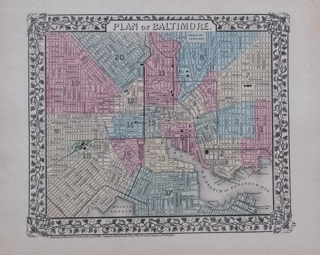 Mitchell: Antique Map of Wahington DC & Baltimore, 1878 - 2