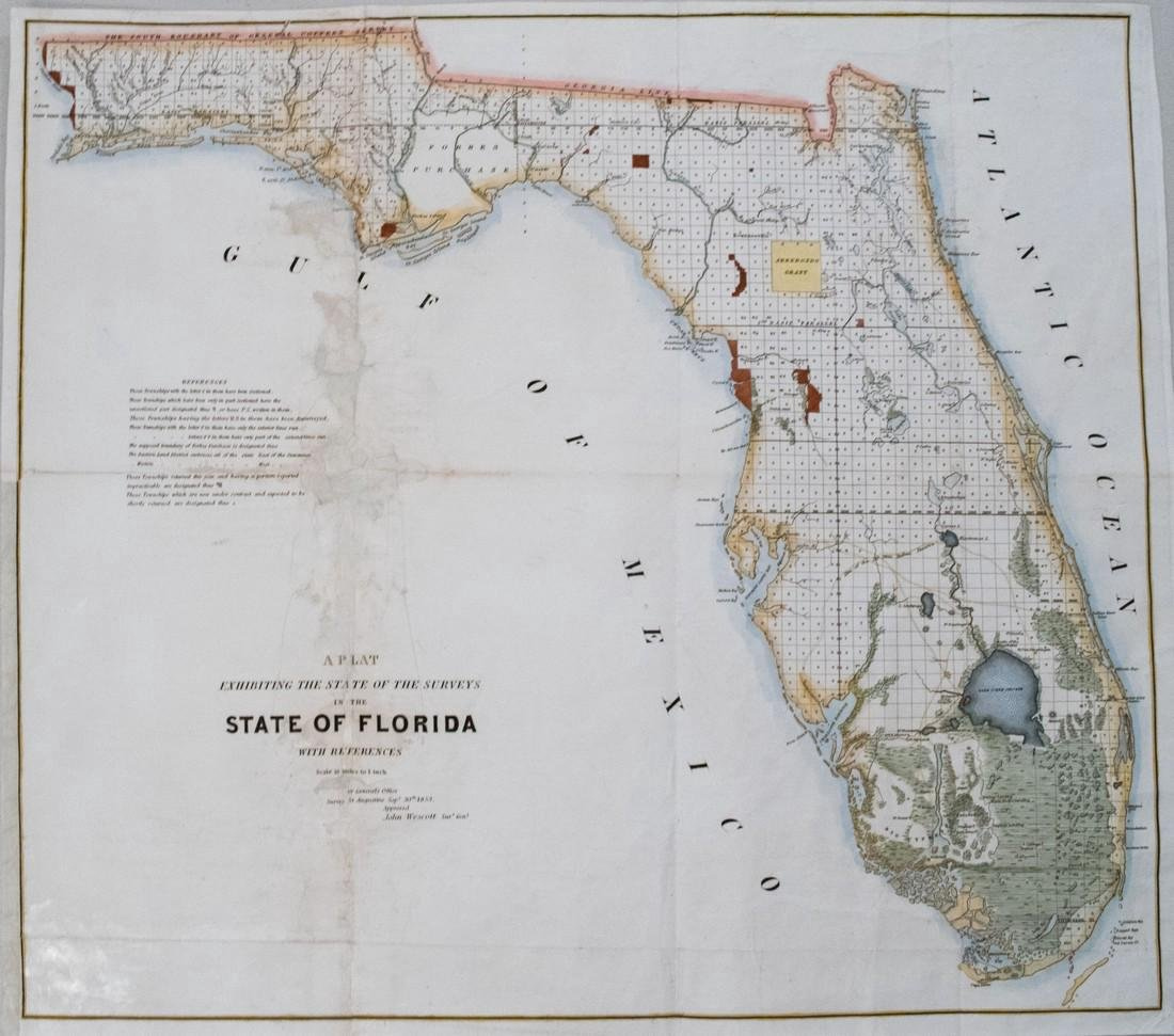 US Survey: Antique Map of Florida, 1853