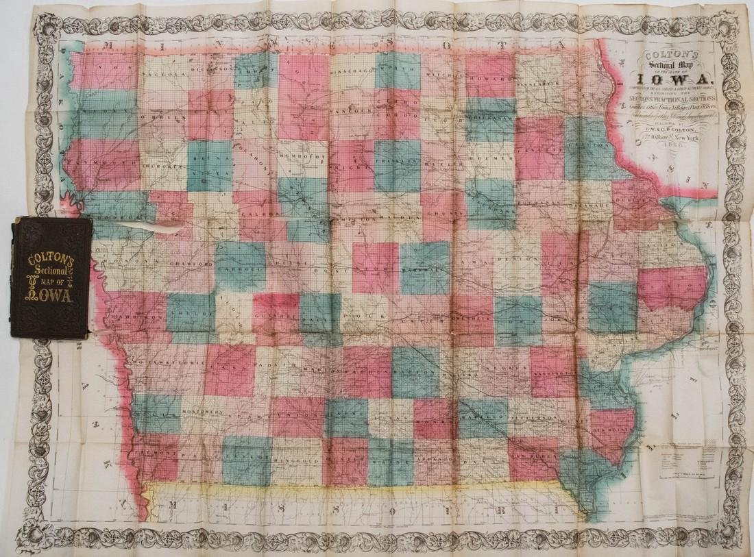 Colton: Antique Pocket Map of Iowa, 1864