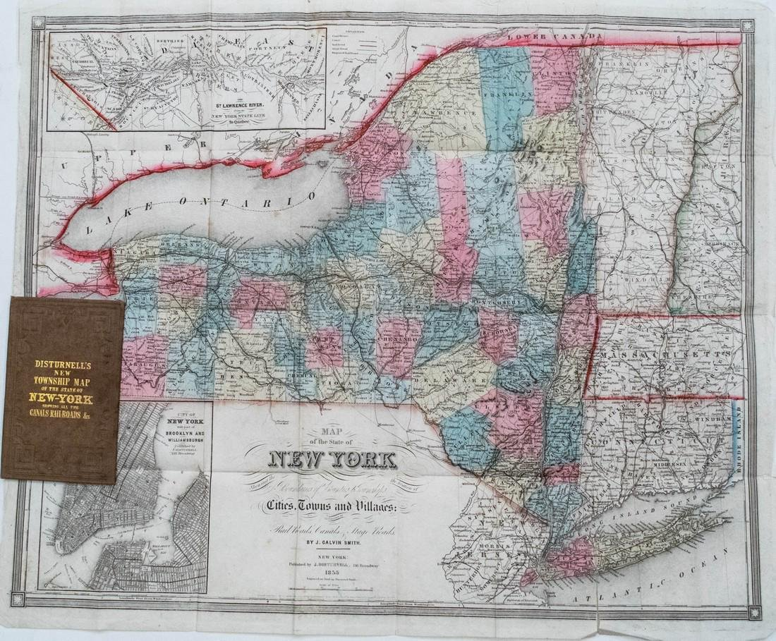 Distrunell: Antique Township Map of New York, 1855