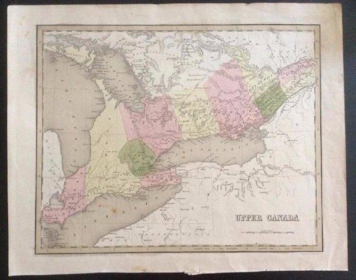 Bradford: Antique Map of Upper Canada, 1838