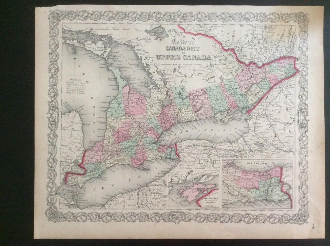 Colton: Antique Map of West & Upper Canada, 1861