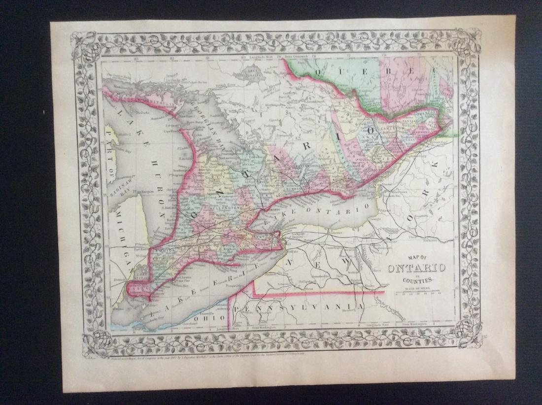 Mitchell: Antique Map of Ontario in Counties, 1869