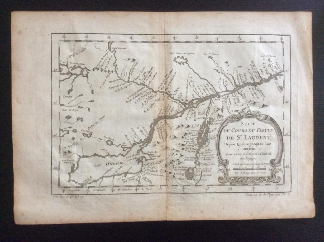 Bellin: Antique Map of St Laurents, 1750