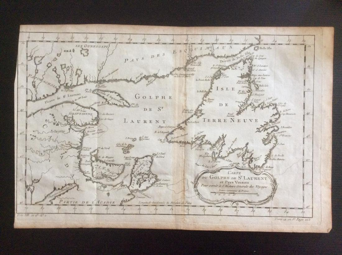 Bellin: Antique Map of Gulf of St Lawrence, 1750