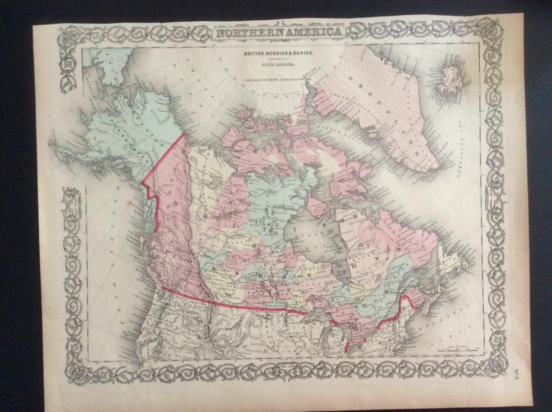 Colton: Antique Map of British North America, 1861