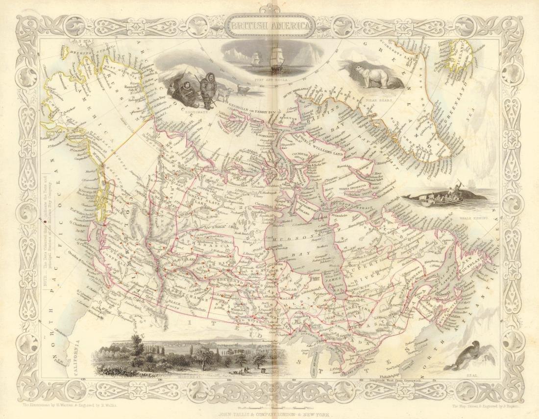 Tallis: Antique Map of British America, 1850